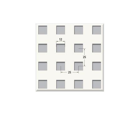 אריח גבס מחורר 12/25Q, חצי שקוע. T15 600X600